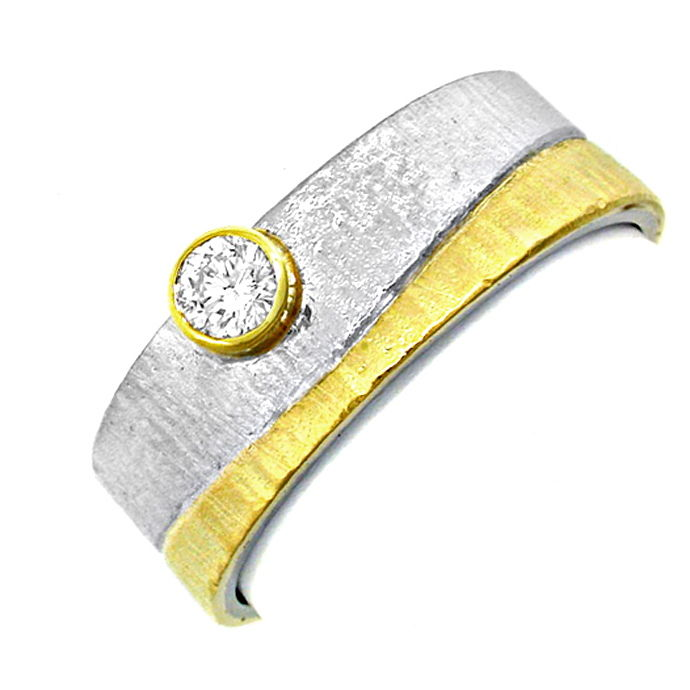 Brillant Designer Ring 18K Bicolor Handarbeit Shop Neu!, Designer Ring
