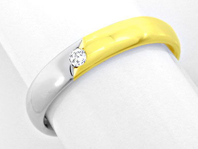 Foto 1 - 1A Brillant Damen Ring 14K/585 Bicolor Massiv Shop Neu!, S8647