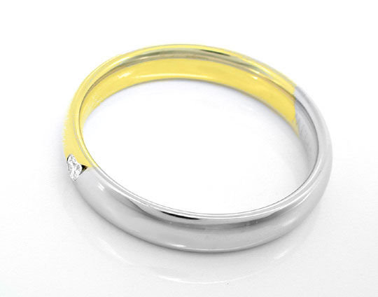 Foto 3, 1A Brillant Damen Ring 14K/585 Bicolor Massiv Shop Neu!, S8647