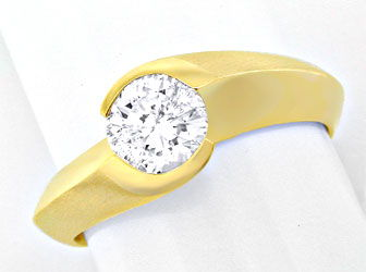 Foto 1, Brillant Solitär Ring 0,75ct River! 18K/750 Luxus! Neu!, S8666