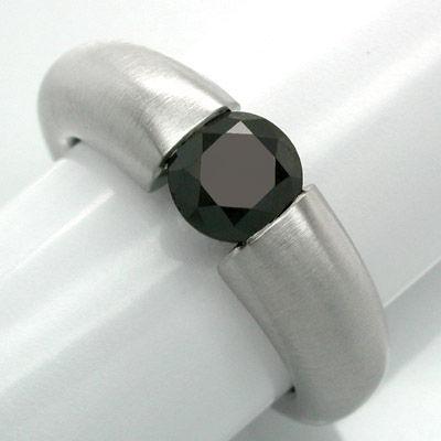 Foto 1, Spann-Ring, Schwarzer Brillant 1,15ct! Luxus! Portofrei, S8678