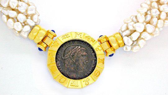 Foto 1, Zuchtperlen-Antikmünzen-Kollier 18K massiv! Luxus! Neu!, S8686
