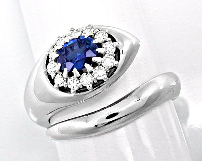 Foto 1, Neu! Traum-Diamant-Safir-Ring 18K River Luxus Portofrei, S8687