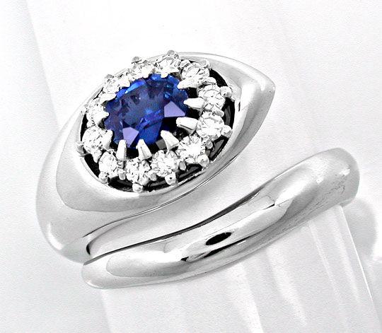 Foto 2, Neu! Traum-Diamant-Safir-Ring 18K River Luxus Portofrei, S8687
