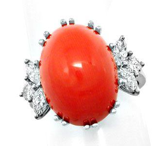 Foto 1, Diamantring Traum-Koralle Top-Handarbeit 18K Luxus! Neu, S8688