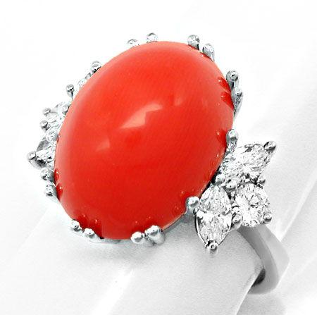 Foto 2, Diamantring Traum-Koralle Top-Handarbeit 18K Luxus! Neu, S8688