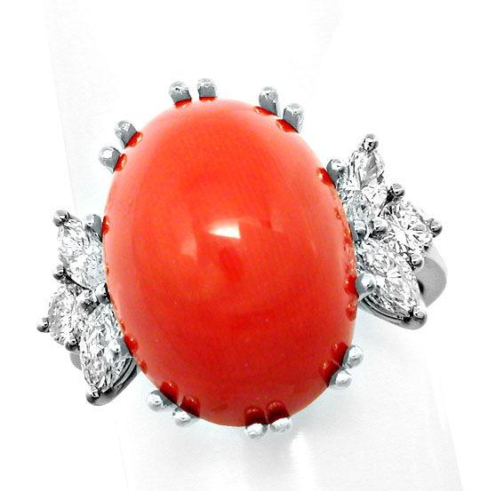 Foto 4, Diamantring Traum-Koralle Top-Handarbeit 18K Luxus! Neu, S8688
