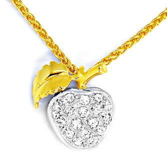 Foto 1, Tolles Diamant-Kollier Apfel 18K/750 Bicolor Luxus! Neu, S8699