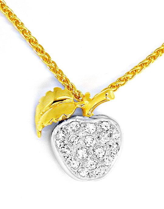 Foto 2, Tolles Diamant-Kollier Apfel 18K/750 Bicolor Luxus! Neu, S8699