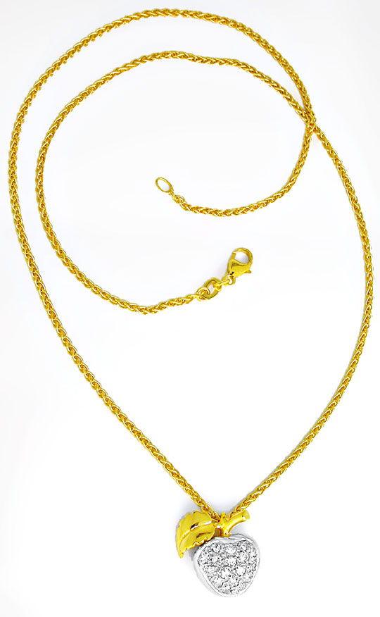 Foto 3, Tolles Diamant-Kollier Apfel 18K/750 Bicolor Luxus! Neu, S8699