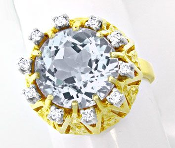 Foto 1, Neu! Brillant Ring Top Riesen Aquamarin! Bicolor Luxus!, S8713