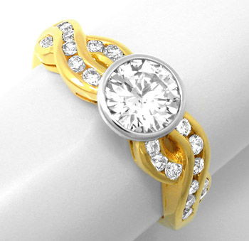 Foto 1, Neu! Brillant-Ring 1,12ct! einmalig! 18K Bicolor Luxus!, S8717
