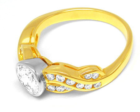 Foto 2, Neu! Brillant Ring 1,12ct! einmalig! 18K Bicolor Luxus!, S8717