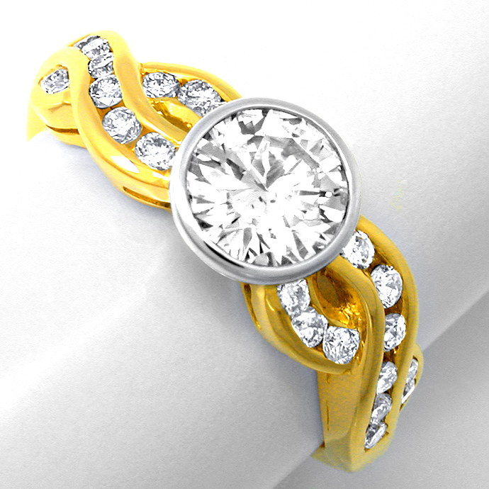 Neu! Brillant Ring 1,12ct! einmalig! 18K Bicolor Luxus!, Designer Ring
