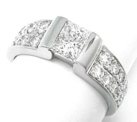 Foto 1, Top Diamant Ring River 1,66ct 18K Weissgold Schmuck Neu, S8718