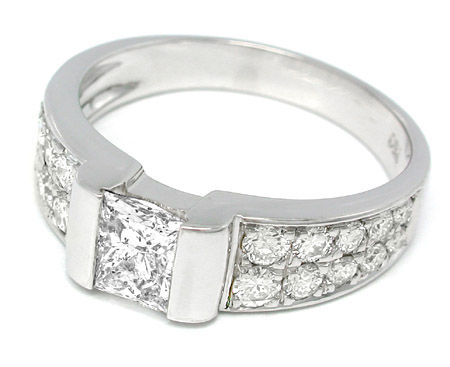 Foto 2, Top Diamant Ring River 1,66ct 18K Weissgold Schmuck Neu, S8718