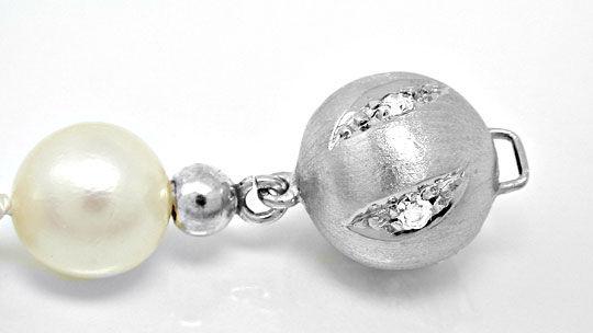 Foto 3, Akoya-Perl-Kette, Diamant-Weissgold-Schloss Luxus! Neu!, S8724