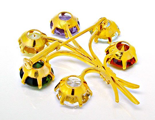 Foto 3, Brosche Citrin Aqua Amethyst Turmalin Beryll Luxus! Neu, S8727