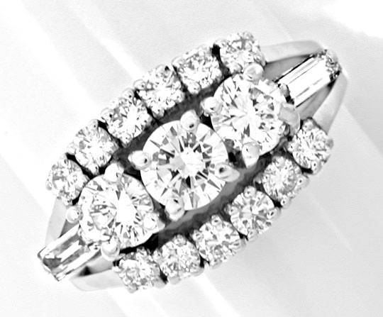 Foto 2, Klassischer Super-Diamant-Ring River Weissg. Luxus! Neu, S8729