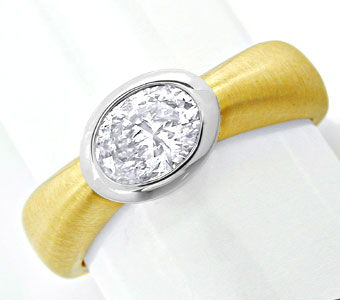 Foto 1, Traum-Ring 0,77ct Ovaler Diamant 18K Bicolor Luxus! Neu, S8730