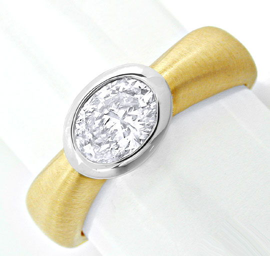 Foto 2, Traum Ring 0,77ct Ovaler Diamant 18K Bicolor Luxus! Neu, S8730