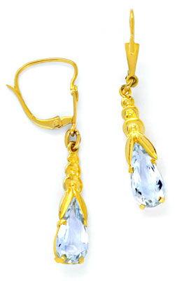 Foto 1, Gold-Ohrringe, 1A Aquamarin-Tropfen Gelbgold Luxus! Neu, S8732