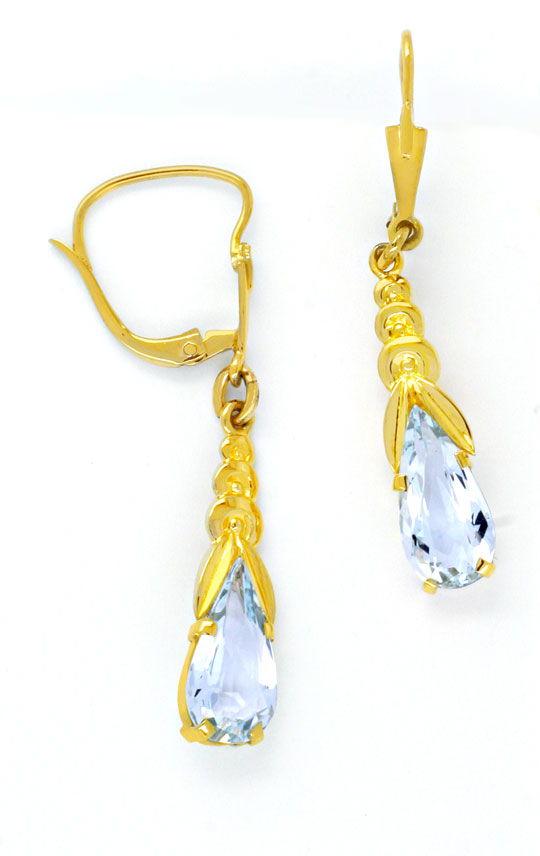 Foto 2, Gold-Ohrringe, 1A Aquamarin-Tropfen Gelbgold Luxus! Neu, S8732