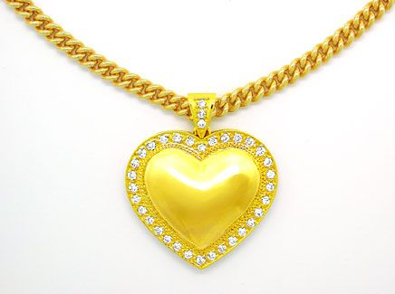 Foto 1, Brillant-Herz-Kollier extramassiv! Gelbgold Luxus! Neu!, S8735