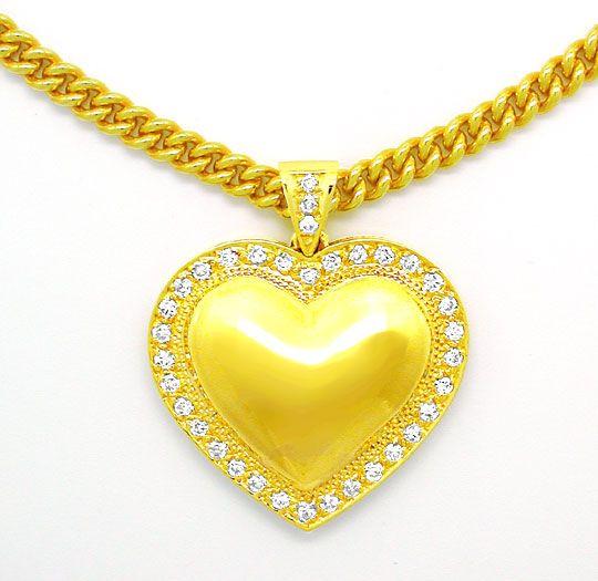 Foto 2, Brillant-Herz-Kollier extramassiv! Gelbgold Luxus! Neu!, S8735