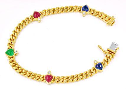 Foto 1, Brillantarmband Safire-Rubine-Smaragd-Herzen Luxus! Neu, S8736