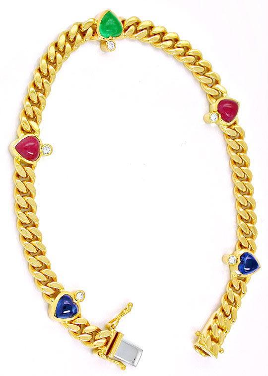 Foto 2, Brillantarmband Safire-Rubine-Smaragd-Herzen Luxus! Neu, S8736