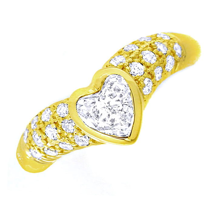Diamant Ring 0,57ct Herz Diamant Solitär 18K Luxus! Neu, Designer Ring