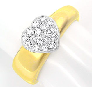 Foto 1, Brillant-Herz-Ring Top Design Gio Caroli 18K Luxus! Neu, S8739