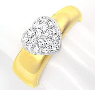 Foto 1, Brillant-Herz-Ring Top Design Gio Caroli 18K Luxus! Neu, S8739