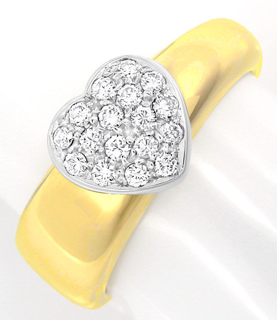 Foto 2, Brillant Herz Ring Top Design Gio Caroli 18K Luxus! Neu, S8739