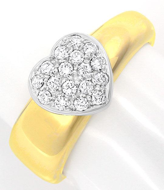 Foto 2, Brillant-Herz-Ring Top Design Gio Caroli 18K Luxus! Neu, S8739