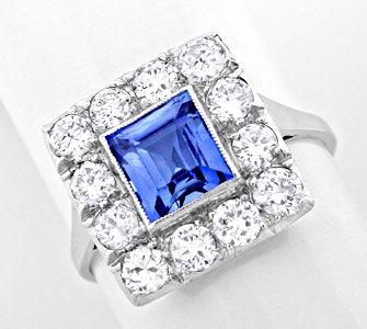 Foto 1, Echt antiker Safir-Diamantring Platin-Gold Luxus! Neuw., S8744