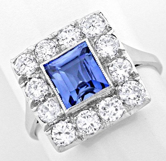 Foto 2, Echt antiker Safir-Diamantring Platin-Gold Luxus! Neuw., S8744