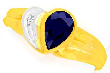 Foto 1, Safir-Diamant-Goldring, 1.03ct Tropfen-Saphir Shop Neu!, S8749