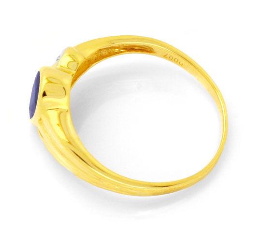 Foto 3, Safir-Diamant-Goldring, 1.03ct Tropfen-Saphir Shop Neu!, S8749