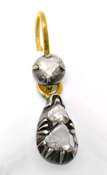 Foto 2, Original antike Rosen-Ohrgehänge 1,14ct Teilbar! Luxus!, S8751
