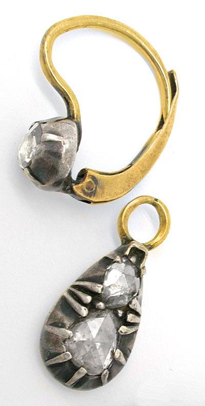 Foto 3, Original antike Rosen-Ohrgehänge 1,14ct Teilbar! Luxus!, S8751