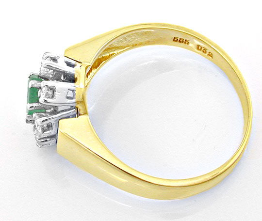 Foto 3, Smaragd Brillant Damen Ring, 14K/585 Bicolor, Shop Neu!, S8757