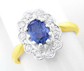 Foto 1, Brillant-Safir-Ring Spitzensafir 14K-Bicolor Luxus! Neu, S8758