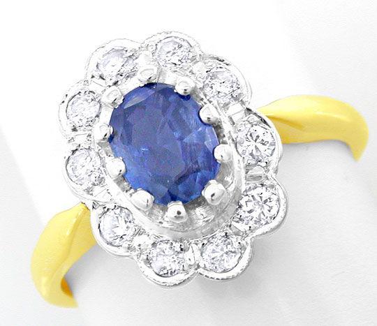 Foto 2, Brillant-Safir-Ring Spitzensafir 14K-Bicolor Luxus! Neu, S8758