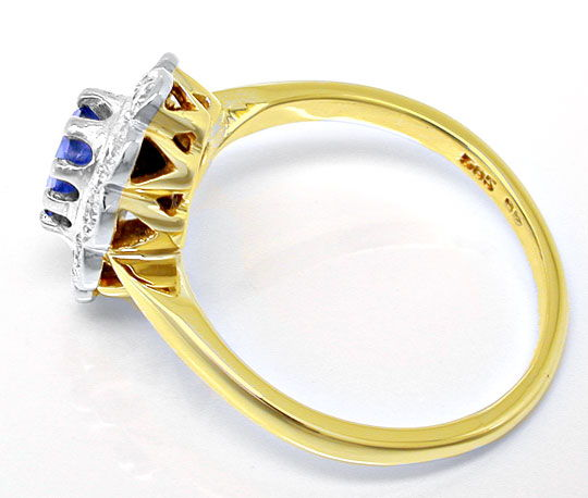 Foto 3, Brillant-Safir-Ring Spitzensafir 14K-Bicolor Luxus! Neu, S8758