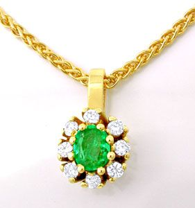 Foto 1, Smaragd-Brillant-Kollier Klassisches Design Luxus! Neu!, S8763