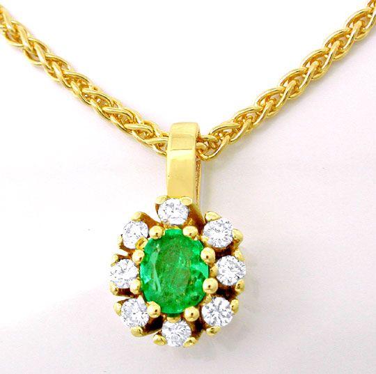 Foto 2, Smaragd-Brillant-Kollier Klassisches Design Luxus! Neu!, S8763