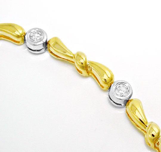 Foto 3, Brillant-Armband 14K/585 Bicolor Top-Modern Luxus! Neu!, S8766