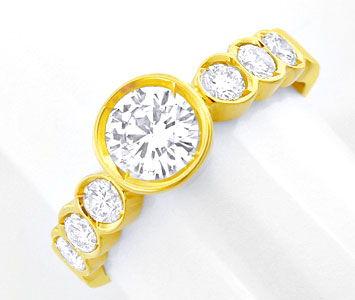 Foto 1, Damen-Brillant-Ring, Halbmemory mit Solitär Luxus! Neu!, S8769